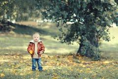 Gulligt barn för höstfoto i parkera Royaltyfri Fotografi