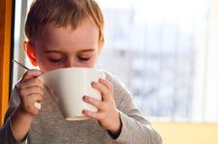 Gulligt barn som dricker te arkivbild