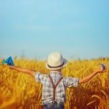 Gulligt barn som går i det guld- fältet för vete på en solig sommardag fyrkant Royaltyfri Fotografi
