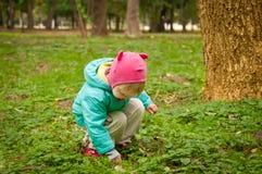 Gulligt barn som går i höstpark Arkivfoton