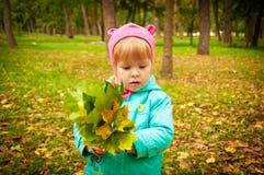 Gulligt barn som går i höstpark Arkivbild