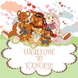 Gulligt barnkort med nätta djur vektor illustrationer