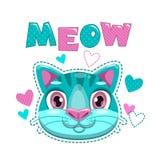 Gulligt barnsligt tryck med kattframsidan och hjärtor stock illustrationer