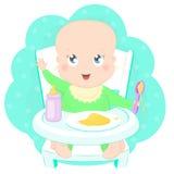 Gulligt behandla som ett barn äta havregröt royaltyfri illustrationer