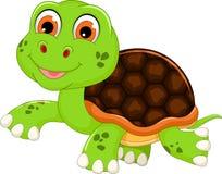 Gulligt behandla som ett barn att gå för sköldpaddatecknad film Fotografering för Bildbyråer