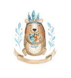 Gulligt behandla som ett barn björndjuret för dagiset, barnkammare isolerad illust vektor illustrationer