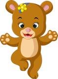 Gulligt behandla som ett barn björnen som dansar tecknade filmen stock illustrationer