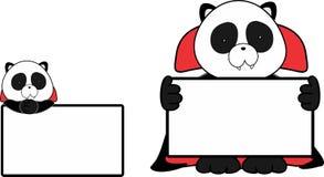 Gulligt behandla som ett barn för den halloween för tecknade filmen för pandabjörnen uppsättningen för singboarden för dräkten va Arkivbild