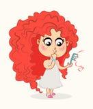 Gulligt behandla som ett barn flickan med hårkammen r royaltyfri illustrationer