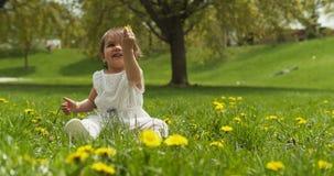Gulligt behandla som ett barn flickan som spelar med gräs parkerar in lager videofilmer