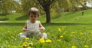 Gulligt behandla som ett barn flickan som spelar med gr?s parkerar in lager videofilmer