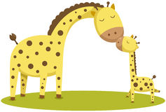 Gulligt behandla som ett barn giraffet och modern Arkivfoton