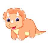 Gulligt behandla som ett barn illustrationen för triceratopsdinosaurievektorn Royaltyfri Fotografi