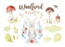 Gulligt behandla som ett barn isolerade illustrationen för kanin den djura barnkammaren för barn Teckning för vattenfärgbohoskog, royaltyfri illustrationer