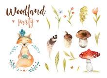 Gulligt behandla som ett barn isolerade illustrationen för räven den djura barnkammaren för barn Teckning för vattenfärgbohoskog, stock illustrationer