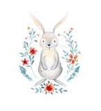 Gulligt behandla som ett barn kanindjuret för dagiset, den barnkammare isolerade illuen royaltyfri illustrationer