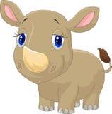 Gulligt behandla som ett barn noshörningtecknade filmen stock illustrationer