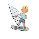 Gulligt behandla som ett barn på surfing Royaltyfri Bild