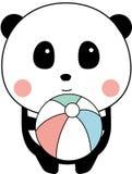 Gulligt behandla som ett barn Panda Playing Sea Ball, anseendet, vit bakgrund arkivfoton