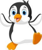 Gulligt behandla som ett barn pingvintecknade filmen royaltyfri illustrationer