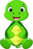 Gulligt behandla som ett barn sköldpaddatecknad filmsammanträde Royaltyfri Bild