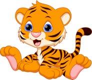 Gulligt behandla som ett barn tigertecknade filmen Royaltyfria Bilder