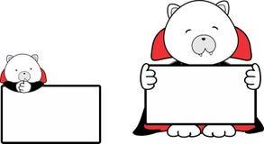 Gulligt behandla som ett barn uppsättningen för singboarden för dräkten för den isbjörntecknad filmhalloween vampyren Royaltyfri Fotografi