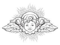 Gulligt bevingat lockigt behandla som ett barn le för kerub pojkeängel med strålar av linght som isoleras över vit bakgrund Hand  vektor illustrationer