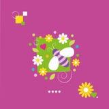 Gulligt bi- och blommahälsningkort Royaltyfri Fotografi