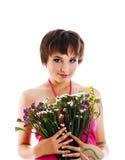 gulligt blommaflickabarn Royaltyfri Bild