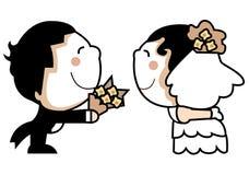 gulligt bröllop för par Arkivbilder