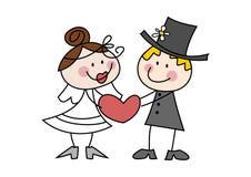 gulligt bröllop för tecknad filmpar Arkivbild