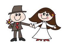 gulligt bröllop för tecknad filmpar Arkivbilder
