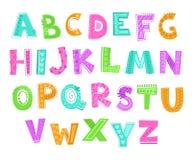 Gulligt dekorativt roligt barnsligt alfabet Komisk stilsortsillustration för vektor stock illustrationer