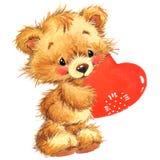 gulligt djur och röd hjärta för valentin vattenfärg Arkivfoto