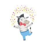 Gulligt djurt tecken för sebra som deltar i födelsedagpartiet stock illustrationer