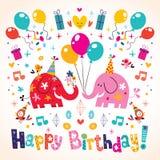 Gulligt elefantkort för lycklig födelsedag Arkivfoton