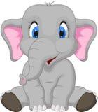 Gulligt elefanttecknad filmsammanträde Royaltyfri Bild