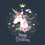 Gulligt enhörningfödelsedagkort, inbjudan, vektordesign royaltyfri bild