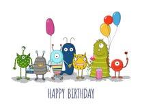 Gulligt färgrikt kort för lycklig födelsedag för monster EPS10 vektor illustrationer