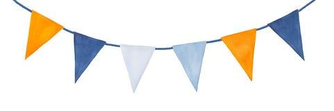 Gulligt färgrikt, partigirland med dekorativa festliga flaggor royaltyfria foton