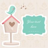 gulligt fågelkort Royaltyfria Foton