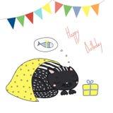 Gulligt födelsedaghälsningkort med en katt royaltyfri illustrationer