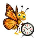 gulligt fjärilstecknad filmtecken med klockan Royaltyfri Fotografi