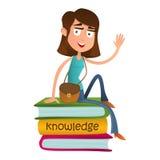 Gulligt flickatonåringsammanträde på en hög av böcker och att vinka Plan stilvektorillustration som isoleras på vit bakgrund smar stock illustrationer