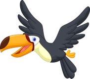 Gulligt flyg för tecknad filmtukanfågel royaltyfri illustrationer