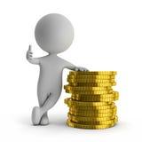 gulligt folk 3d - stå med bunten av guld- mynt (finansiell su Arkivfoton