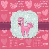 Gulligt förälskelsekort med katten - för valentin dag Fotografering för Bildbyråer