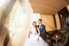 Gulligt gift par i kafé ren mjukhet Royaltyfria Foton