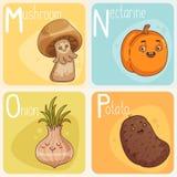 Gulligt grönsak- och fruktalfabet illustration för diagram för tecknad filmteckenbarn färgrik Royaltyfria Bilder